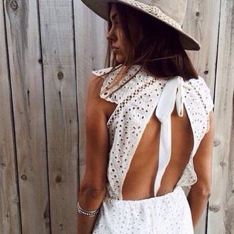 dress white tumblr hat grey hat open back open back dresses backless dress backless white dress eyelet detail eyelet dress bracelets silver bracelet