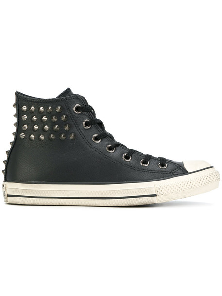 studded women embellished sneakers leather cotton black shoes