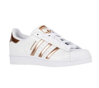 shoes adidas sneakers white fashion style rare copper metallic celeb sporty sportswear stripes metallic shoes streetwear adidas originals adidas superstars adidas shoes white sneakers