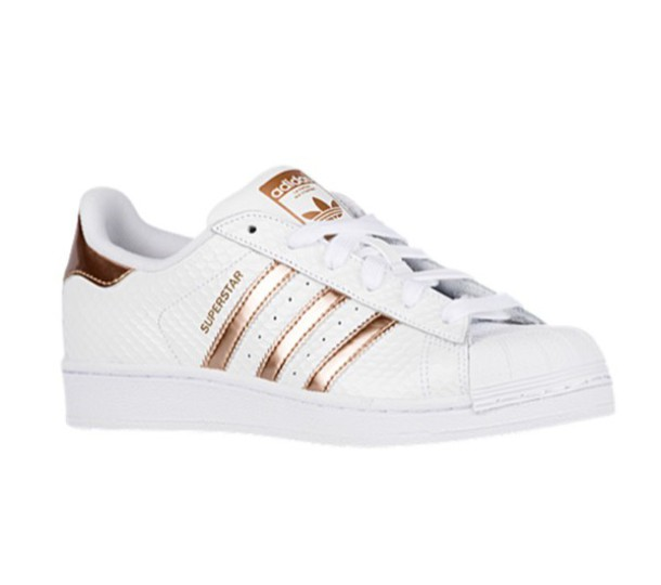 0fc1cfbb316 shoes adidas sneakers white fashion style rare copper metallic celeb sporty  sportswear stripes metallic shoes sportswear