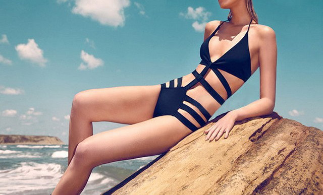 Freeshipping woman sexy bandage black one piece swimming wear swimsuit biquini monokini tankini -in One Pieces from Apparel & Accessories on Aliexpress.com