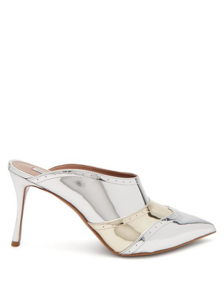 Tabitha Simmons - Blade Brogue Detail Leather Mules - Womens - Silver