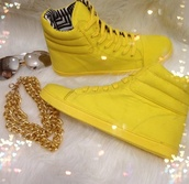 shoes,high top sneakers,yellow,sneakers,high tops,jewels
