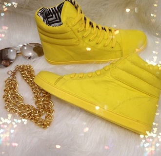shoes high top sneakers yellow sneakers jewels