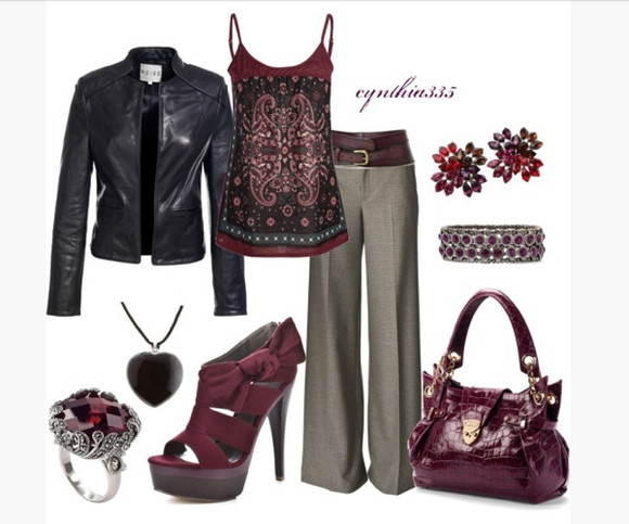 jacket black jacket leather jacket bag shoes high heels strap heels platform heels black leather jacket top tank top spaghetti strap pattern tank top pants slacks belt earrings bracelet ring necklace purse clothes outfit plum colour plum heels