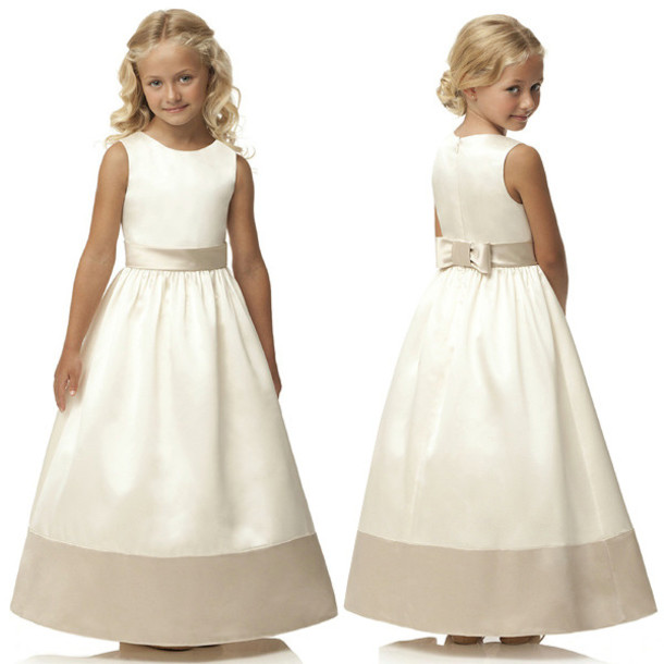 dress satin dress 2015 flower girl dress two color dress girl dress fashion love white flower girl dresses flower girl dress white first communion dresses 2015 a line dress