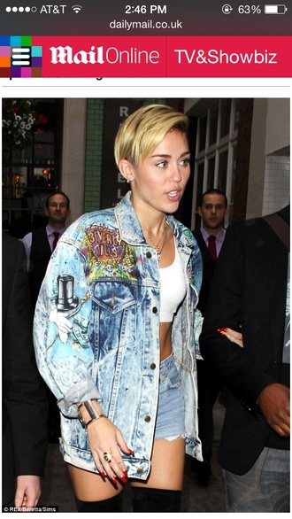 jacket acid wash miley cyrus studs beverly hills
