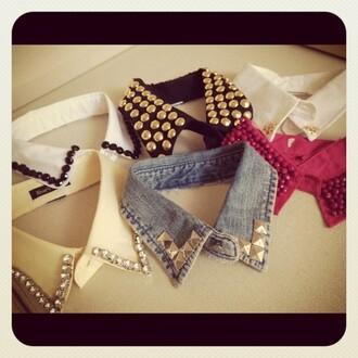 blouse studs studded collar studded collar pyramid studs collar tips