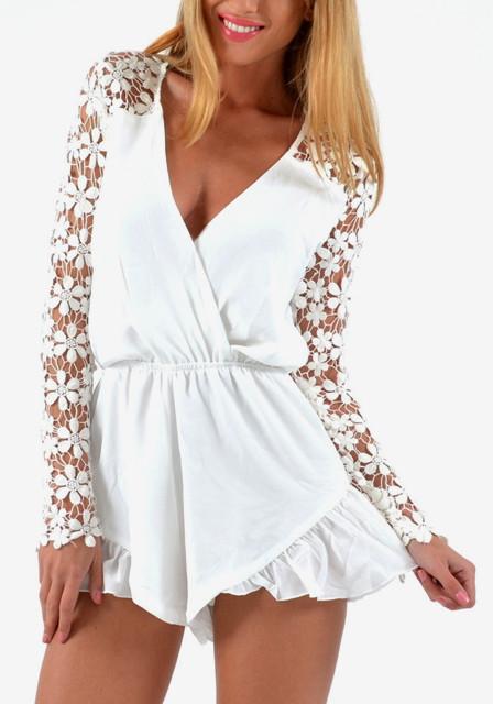 Crochet floral white romper