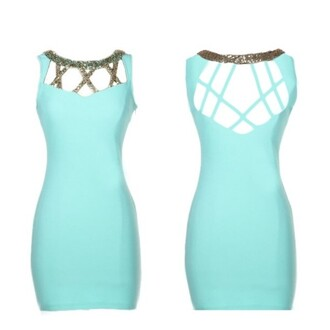 dress mint gold glitter tight