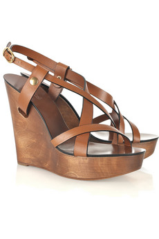 Chloé Multi-strap leather wooden wedge sandals - 60% Off Now at THE OUTNET