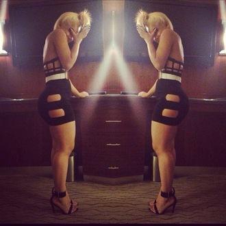 dress black cut-out bodycon short skirt clothes swag luxury blonde hair belt heels