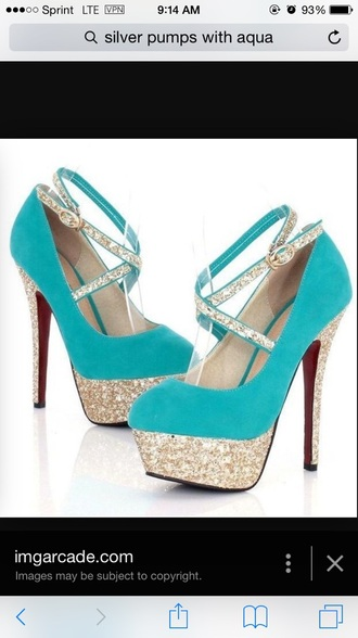 shoes aqua blue pumps sparkle platfor