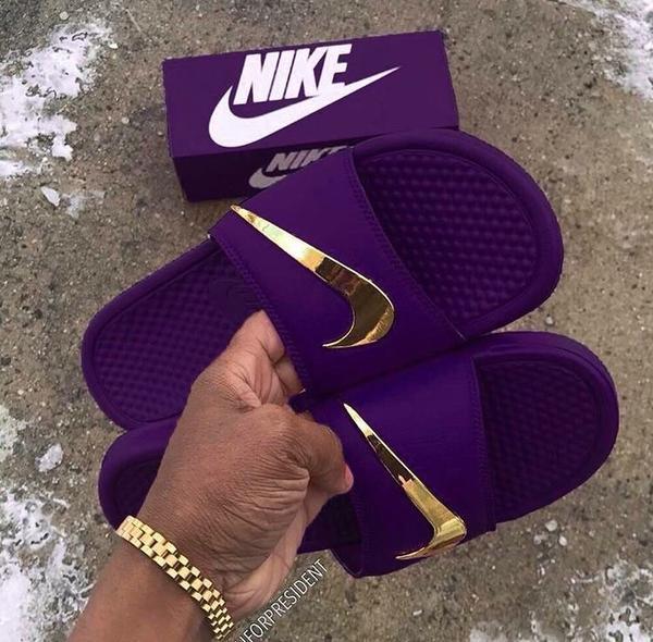 "Nike Benassi ""Royalty"" Golden Check Slides"
