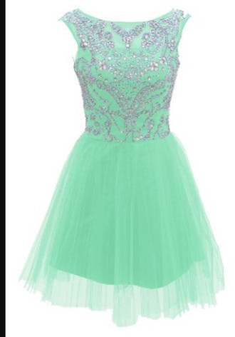 dress mint green and silver knee length prom dress