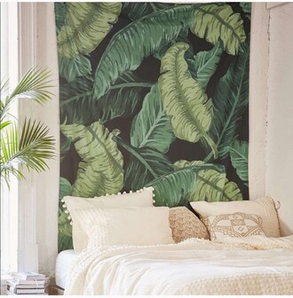 home accessory urban outfitters tapestry leaf print green wall decor wall tapestry