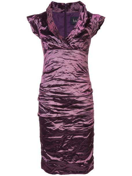 Nicole Miller dress metal women spandex purple pink