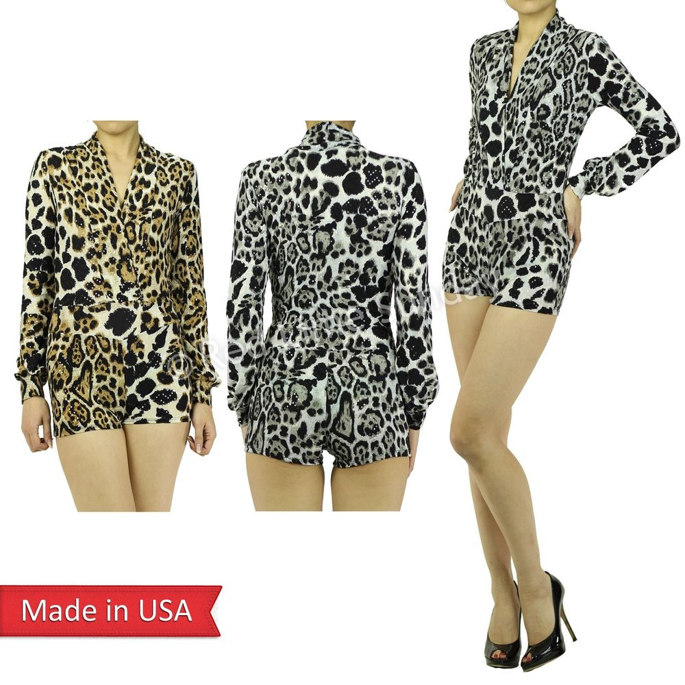 New Sexy Leopard Animal Print Plunging Deep V Neckline Mini Jumpsuits Romper USA