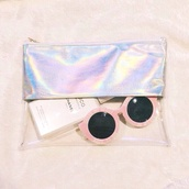 bag,clutch,clear clutch,cool,glasses,sunglasses,round sunglasses,plastic,pastel pink,transparent  bag,pink sunglasses,holographic,summer accessories,metallic clutch