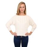 Mariah eyelash batwing jumper in white