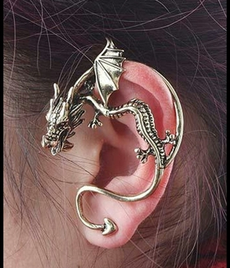 jewels ear cuff dragon cool dope ear piece jewelery jewelry earrings