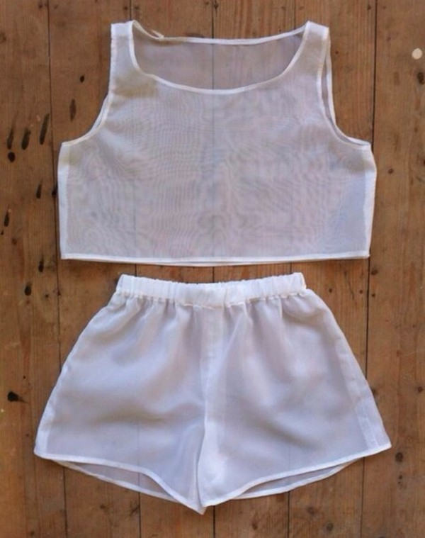 top shorts matching skirt and top two-piece white sheer t-shirt shirt summer outfits women t shirts summer outfits workout workout girly outfits tumblr girl shirts jumpsuit mesh set two-piece see through tank top white tank top