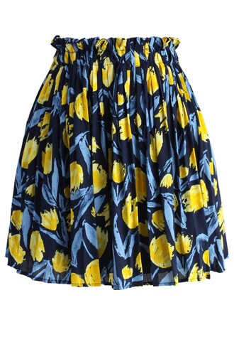 skirt fun with tulips pleated skirt chicwish pleated skirt floral skirt summer skirt chicwish.com yellow summer dress