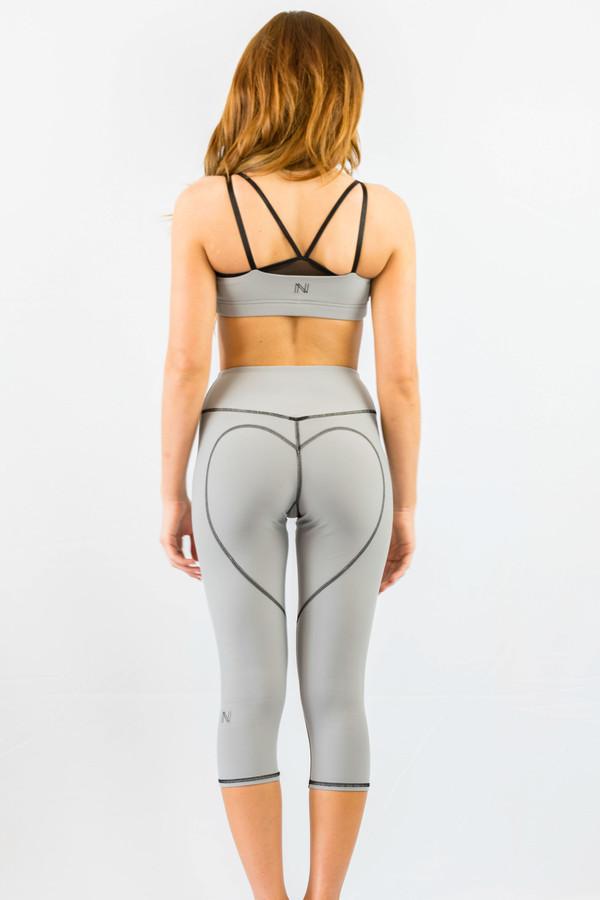 Large Grey Yoga Capris , Heart Butt Capris, Compression Tights ...