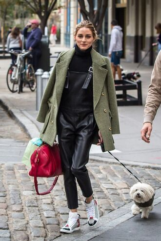 pants overalls olivia palermo fall outfits sneakers turtleneck coat leather pants leather
