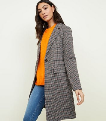 Brown Houndstooth Check Coat | New Look