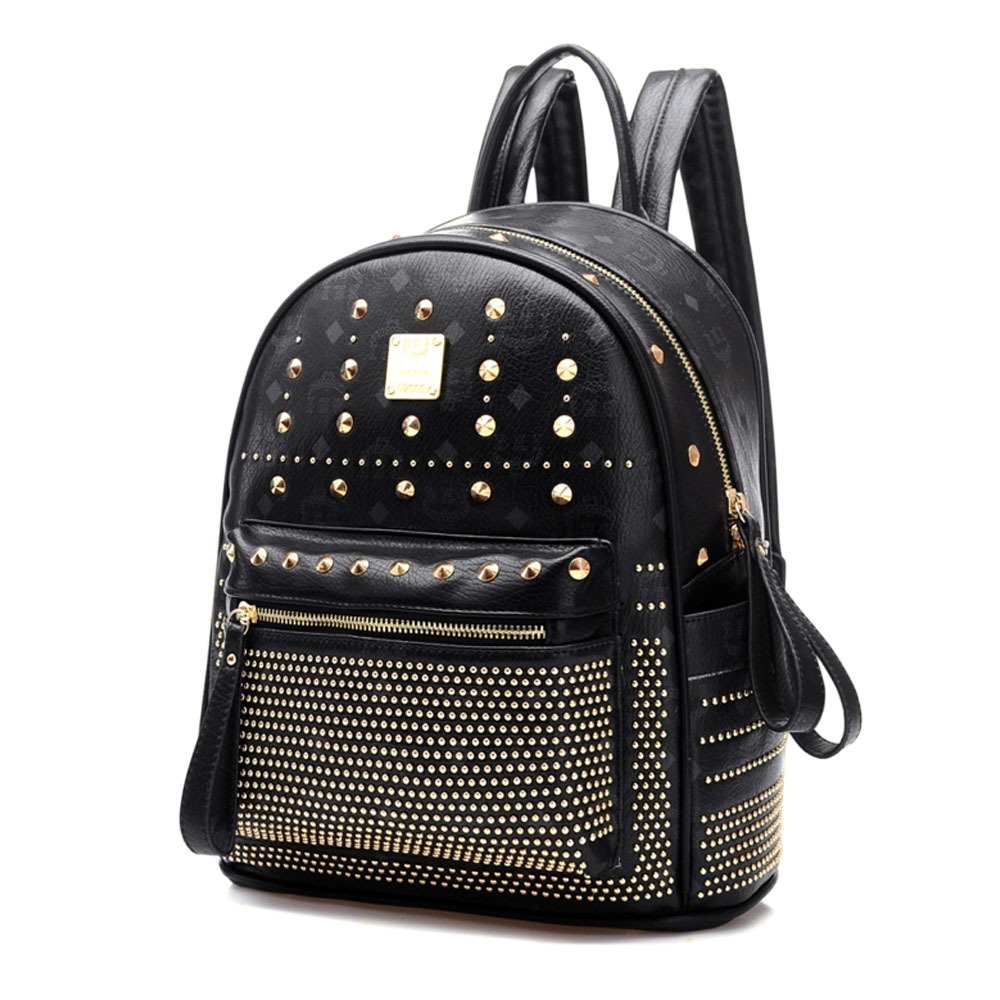 [grxjy5204236]retro rivets backpack school bag
