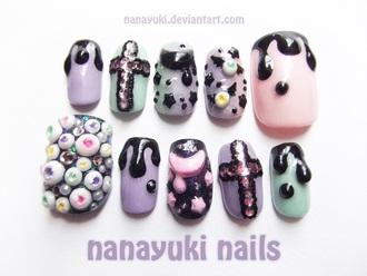 nail polish creepy goth pastel pink black bats creepy kawaii kawaii pastel pastel goth eye balls make-up nails fake nails gel nails false nails dark wierd tumblr pinterest