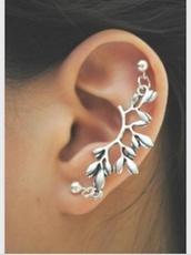 jewels,silver,stud,earrings,branch,piercing,helix piercing,double earring,studs,jewelry,double stud,cuff,cuff earring,double joiner