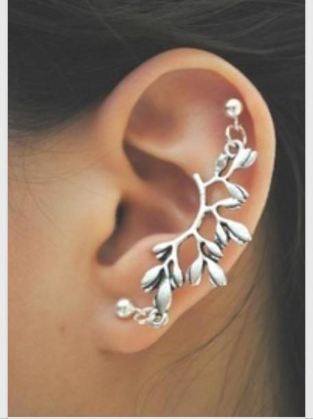 Jewels Silver Stud Earrings Branch Piercing Helix Piercing