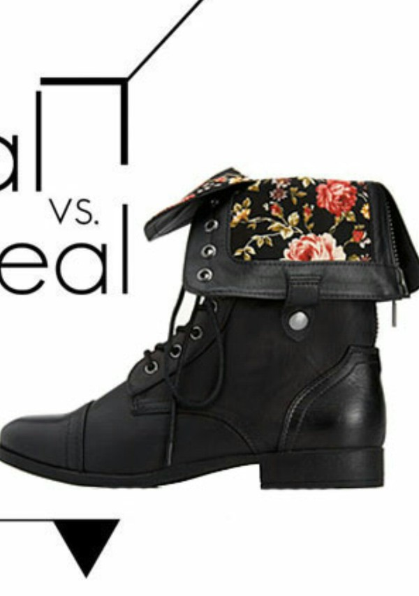 combat boots folded combat boots zip shoes leather boots floral black