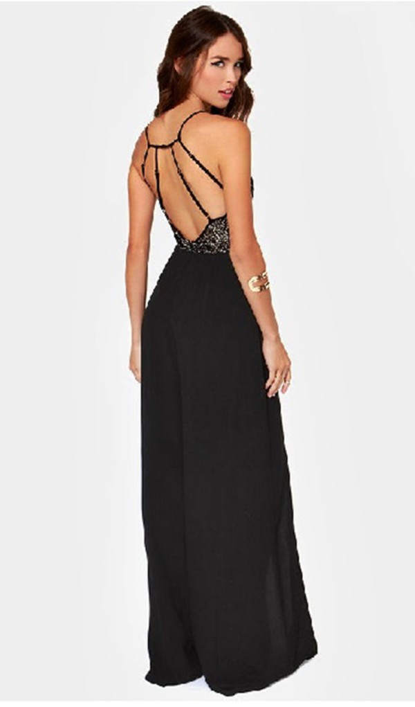 dress open back dresses maxi dress black dress wide pants
