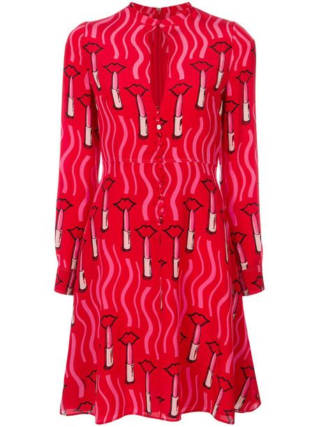 Valentino dress print dress women spandex print silk red