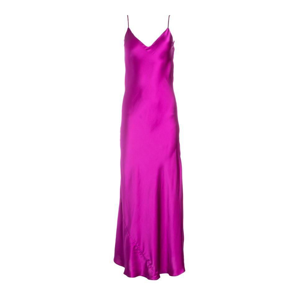 Dannijo Fuchsia Silk Slip Dress with Side-Slit - Made in NYC