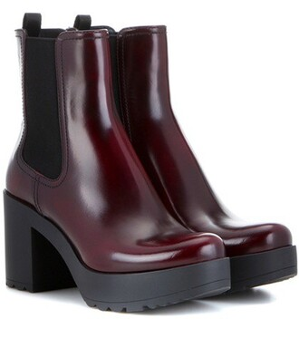boots chelsea boots leather red shoes