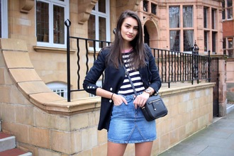 peexo blogger jacket top skirt shoes bag crossbody bag striped top blazer denim skirt