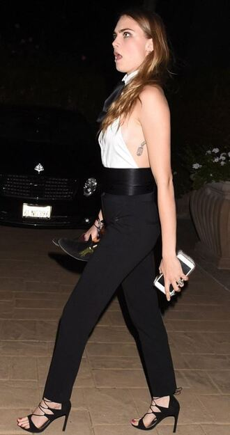 top pants sandals cara delevingne black and white shoes