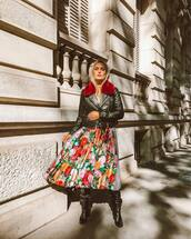 jacket,biker jacket,leather jacket,midi skirt,pleated skirt,floral skirt,printed skirt,black boots