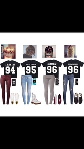 5 sos shirt,5 seconds of summer,t-shirt,hood 96,clliford 95,irwin 94,hemmings 96,5sos tees,shirt,jeans,jersey