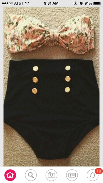 swimwear high waisted swim bowtie buttons buttons up front floral swimwear black bikini high waisted shorts