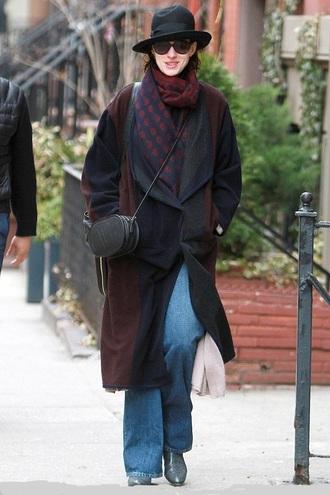coat hat scarf anne hathaway