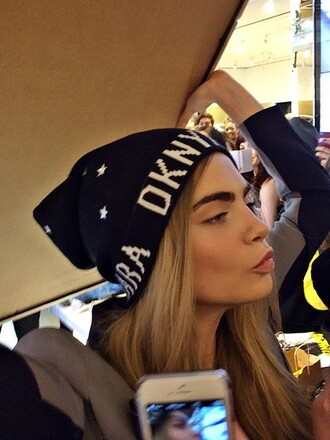 cara delevingne fashion vibe make-up dkny beanie