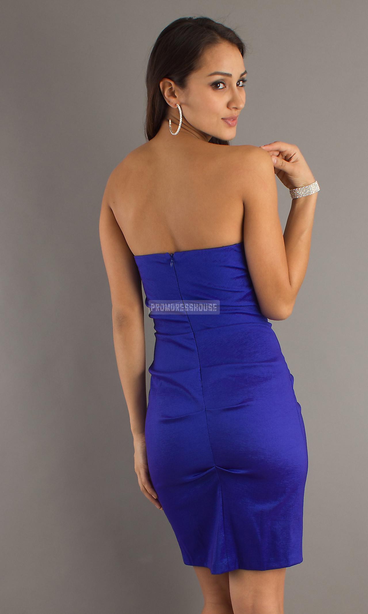 Short Length Royal Blue Ruched Satin Sheath Beading Cocktail Dress - Promdresshouse.com