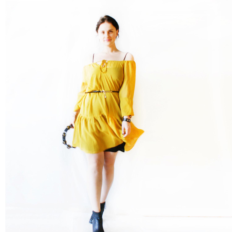 love\\Summer pure silk woman dress\\Yellow flowy dress\\Bohemian boho ...