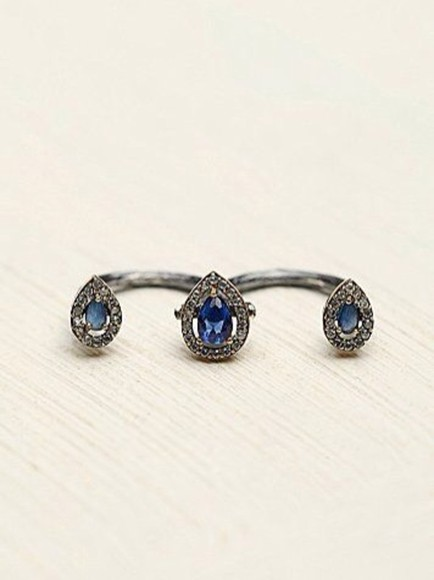 diamond blue jewels ring teardrop pretty two finger ring