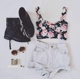 shirt flowers crop tops crop top combat boots high waisted shorts white pink flowers hippie bracelets gold combat boots high waisted shorts hippie glasses jewelry shoes jewels